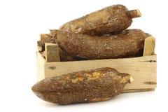 Пук кассавы укореняет в деревянной клети стоковые фото
