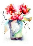 Пук красных цветков пиона Стоковые Изображения RF