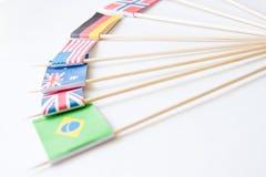 Пук миниатюрных бумажных флагов нескольких стран: Греция, Германия, Швеция, Норвегия, Англия, Италия, Франция, Испания, Россия Стоковые Изображения RF