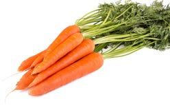 Пук морковей при листья зеленого цвета изолированные на белизне Стоковое Изображение