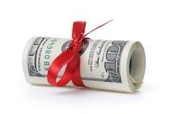 Пук 100 долларовых банкнот связанных с лентой Стоковая Фотография RF