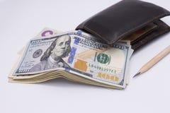 Пук 100 долларовых банкнот Стоковые Фото