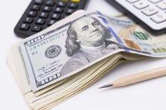 Пук 100 долларовых банкнот Стоковое фото RF