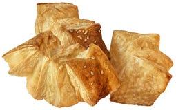 Пук печенья слойки круассана сезама квадрата Zu-Zu изолированного на w Стоковое Изображение