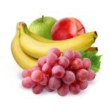 Пук плодоовощ на белой предпосылке Яблоко, виноградина и банан Стоковое фото RF