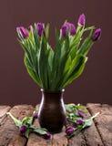 Пук пурпуровых тюльпанов Стоковая Фотография