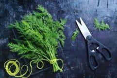 Пук свежего органического укропа на черной винтажной деревенской предпосылке, связанный с зеленым шпагатом Стоковое Фото