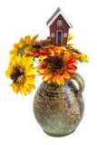 Пук солнцецветов изолированных на белой предпосылке Стоковое Изображение