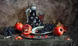 Пук темных виноградин, зрелых гранат и стекла молодого вина Натюрморт Крася влажная акварель на бумаге Наивнонатуралистическое ис иллюстрация штока