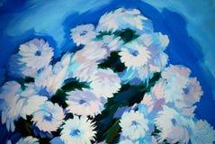 Пук цветков, крася на холсте иллюстрация штока