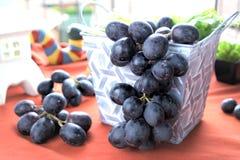Пук черных виноградин вися вне от контейнера Стоковые Фотографии RF