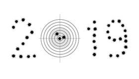 Пулевые отверстия и цель в форме 2019 стоковое изображение rf