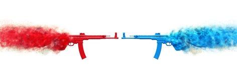 Пулеметы штурма - красные против bluets бесплатная иллюстрация