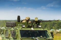 Пулемётчик подготавливает снять пулемет NSVT 12 7 Стоковое Изображение RF