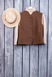 Пуловер в жилете коричневого цвета зимы Стоковое фото RF