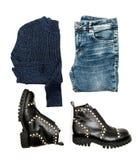 Пуловер джинсов обувает средства массовой информации social вебсайта положения квартиры моды Стоковое фото RF