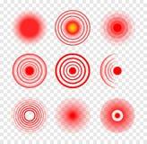 Пульсация вектора красного круга цели медицинская Больное болезненное место пятна Цель боли боли символа терапией волны красная иллюстрация вектора