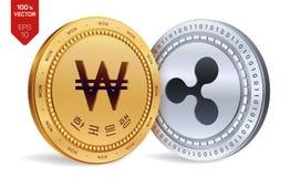 пульсация выиграно равновеликие физические монетки 3D Корея выиграла монетку с текстом в корейском банке Кореи Cryptocurrency зол бесплатная иллюстрация