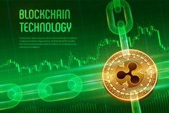 Пульсация Секретная валюта Цепь блока равновеликое физическое золотое bitcoin 3D с цепью wireframe на голубое финансовом иллюстрация вектора