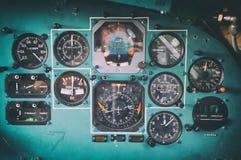 Пульт управления в старой арене самолета СССР Стоковое фото RF