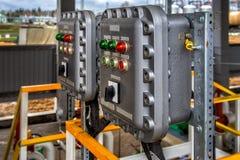 Пульт управления с переключателями и лампами Стоковая Фотография RF