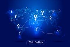 Пунктирные линии образовывают карту мира, располагать GPS образовывают предпосылку вектора технологии данным по ` s мира большую, Стоковая Фотография