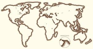 Пунктированная вектором карта мира стилизованная Стоковое фото RF