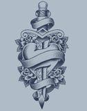 Пунктированные сердце и кинжал Стоковое фото RF