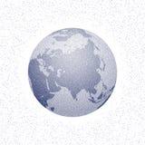 Пунктированный вектором глобус мира стилизованный ashurbanipal иллюстрация вектора