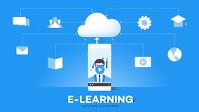 Пункты преимущества образования передвижной иллюстрации вектора E-Laerning схематической онлайн иллюстрация вектора