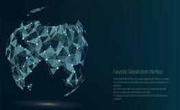 Пункт карты мира ashurbanipal также вектор иллюстрации притяжки corel Состав, представляя соединение глобальной вычислительной се бесплатная иллюстрация