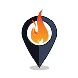 Пункт пламени - указатель карты с знаком камина - пожарная сигнализация Стоковые Изображения