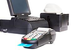 Пункт системы продажи для розницы или ресторана с счетом покупок Стоковые Изображения