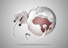 Пункт электрического кабеля и штепсельной вилки электричества соединяется к ярко покрашенной Африке на глобусе мира стоковое изображение