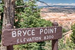 Пункт Bryce подписывает внутри каньон Bryce Стоковое Изображение RF