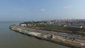 Пункт Ver o Рио вида с воздуха в Belem делает город Para Ноябрь 2016 - Бразилия акции видеоматериалы
