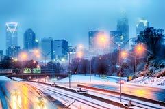 Пурга города Шарлотты Северной Каролины и дождь льда Стоковое Изображение RF