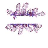 Пурпурная граница листвы на белой предпосылке изображение иллюстрации летания клюва декоративное своя бумажная акварель ласточки  иллюстрация штока