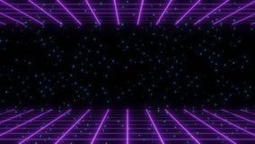 Пурпурное ретро wireframe 80s с голубой моргать предпосылкой звезд иллюстрация вектора