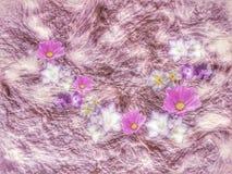 Пурпурные и белые цветки в двигая предпосылке стоковые фотографии rf