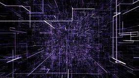 Пурпурный абстрактный виртуальный космос летание иллюстрации 3d через тоннель цифровых данных иллюстрация вектора
