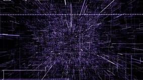 Пурпурный абстрактный виртуальный космос летание иллюстрации 3d через тоннель цифровых данных бесплатная иллюстрация