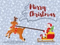 Пурпурный плакат на Новый Год с santa и оленями стоковая фотография rf