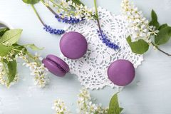 3 пурпурных печенья и цветка macaroons стоковые фотографии rf