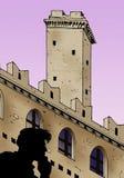 пурпуровая башня неба иллюстрация штока