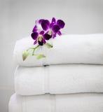Пурпуровая орхидея на белых полотенцах Стоковое Изображение