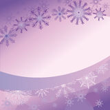 Пурпуровая предпосылка с чувствительными снежинками Стоковые Фотографии RF