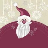 Пурпуровая рождественская открытка Santa Claus Стоковое Изображение RF