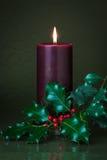 Пурпуровая свечка с падубом Стоковое Изображение