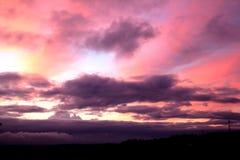 пурпуровый заход солнца Стоковое Изображение